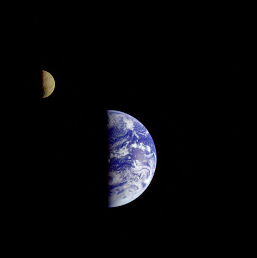 Earth and Moon seen by Galileo spacecraft from 4 million miles away