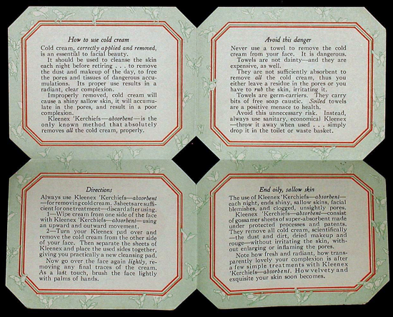 Kleenex, booklet 1926 inside