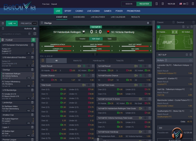 Betolivia Live Betting Screen