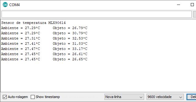 Serial monitor mostrando os dados do sensor MLX90614