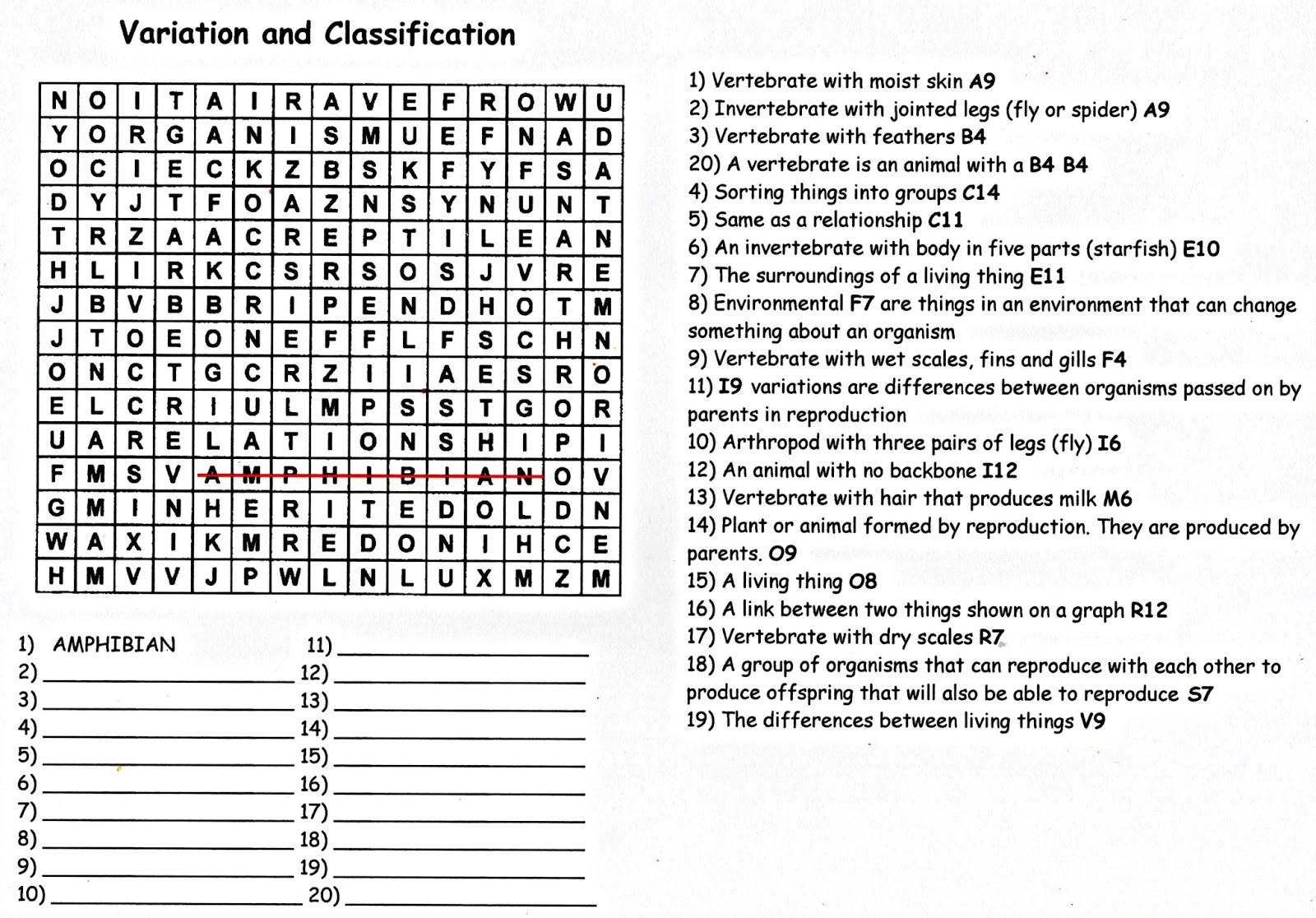 Variation & Classification - A Quiz Wordsearch! | Science Puzzles