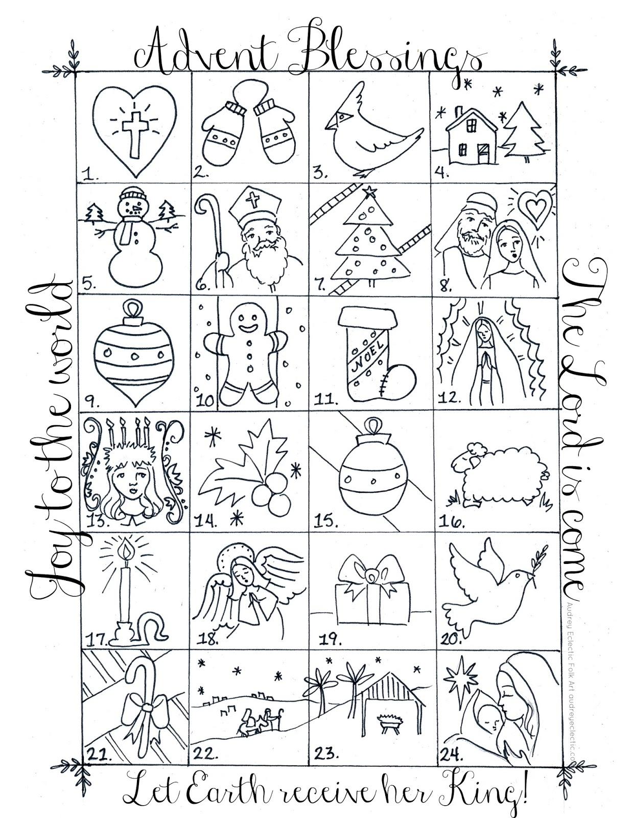 New Printable 24 Day Advent Calendar