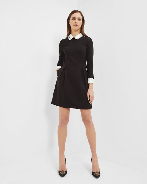 ted baker white collar black dress