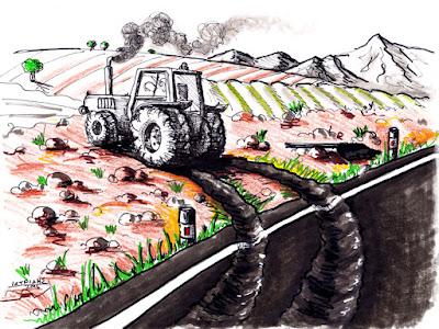IaTriDis Γελοιογραφία : Από την άσφαλτο πίσω στο χωράφι