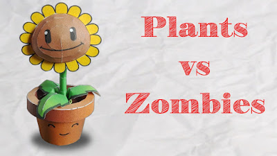 papercaft du jeu plante contre zombies, plants vs Zombies en papier