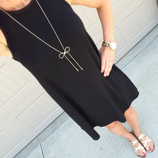 Old Navy Swing Dress // Mossimo Lina Sandals // Purple Peridot Bow Necklace - only $15! // Michael Kors Runway Twist Watch
