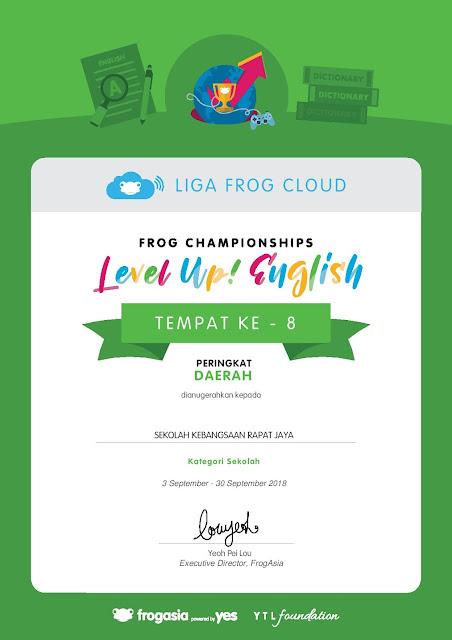 Pencapaian SK Rapat Jaya dalam Frogplay Championships 2018