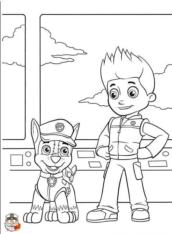 Paw Patrol Chase Coloring page free Coloring Page
