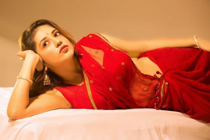 Priyanka Jawalkar In Blue Dress Sexy Stills