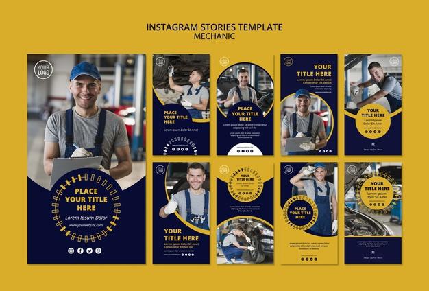 Mechanic business instagram stories template Free Psd