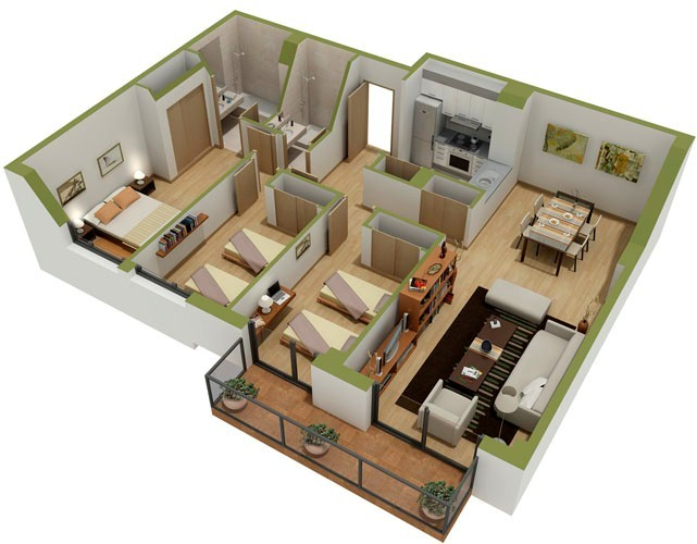 3D Floor Plan  Impressive On House 8