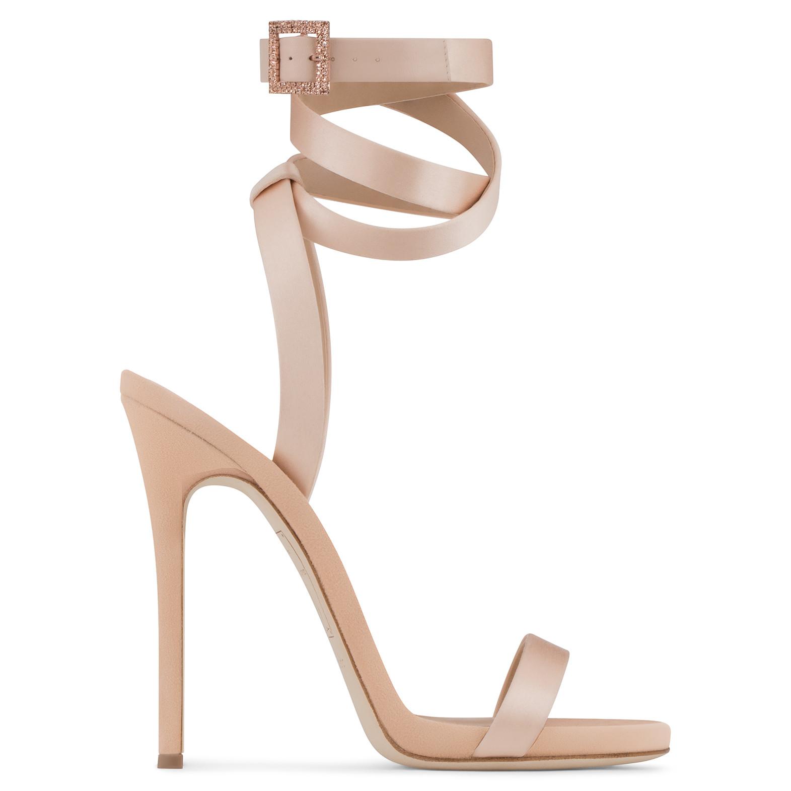 7274d2b112186 2. Giuseppe Zanotti Design LESLIE: Giuseppe for Jennifer Lopez: pale pink  satin sandal.