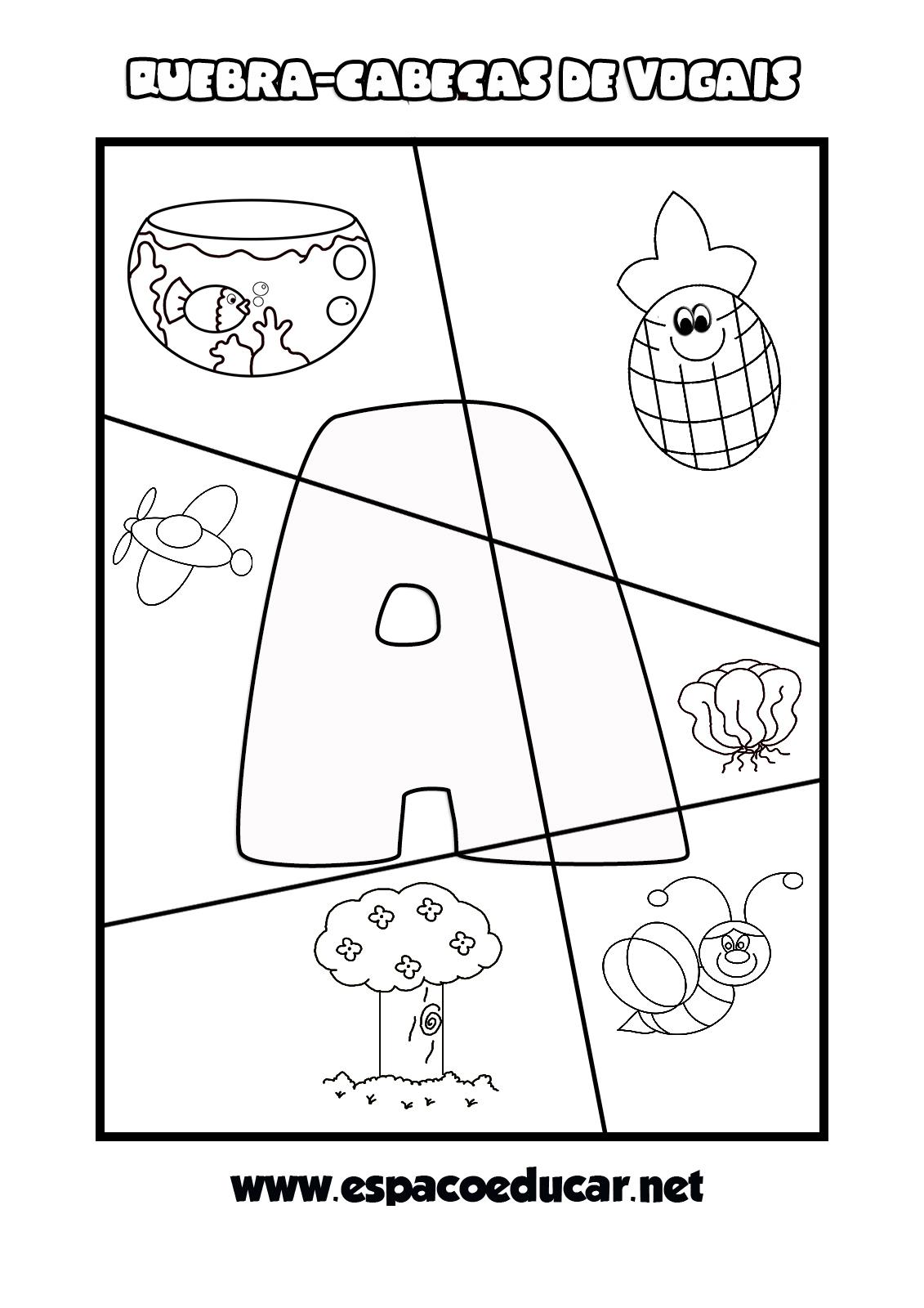 Jogo Educativo Para A Alfabetizacao Quebra Cabecas De Vogais