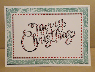 Merry Christmas red striped ribbon writing on green swirly background Christmas Card