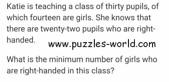 Minimum Right Handed Girls puzzle