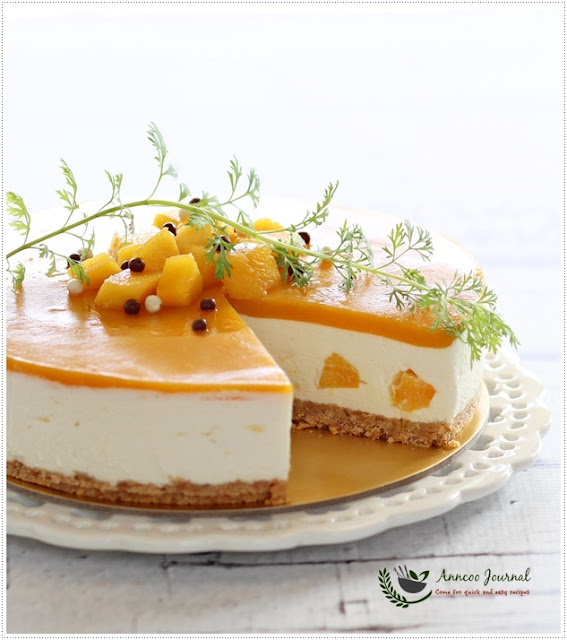 No Bake Mango Yogurt Cheesecake 免考芒果优格芝士蛋糕 Anncoo