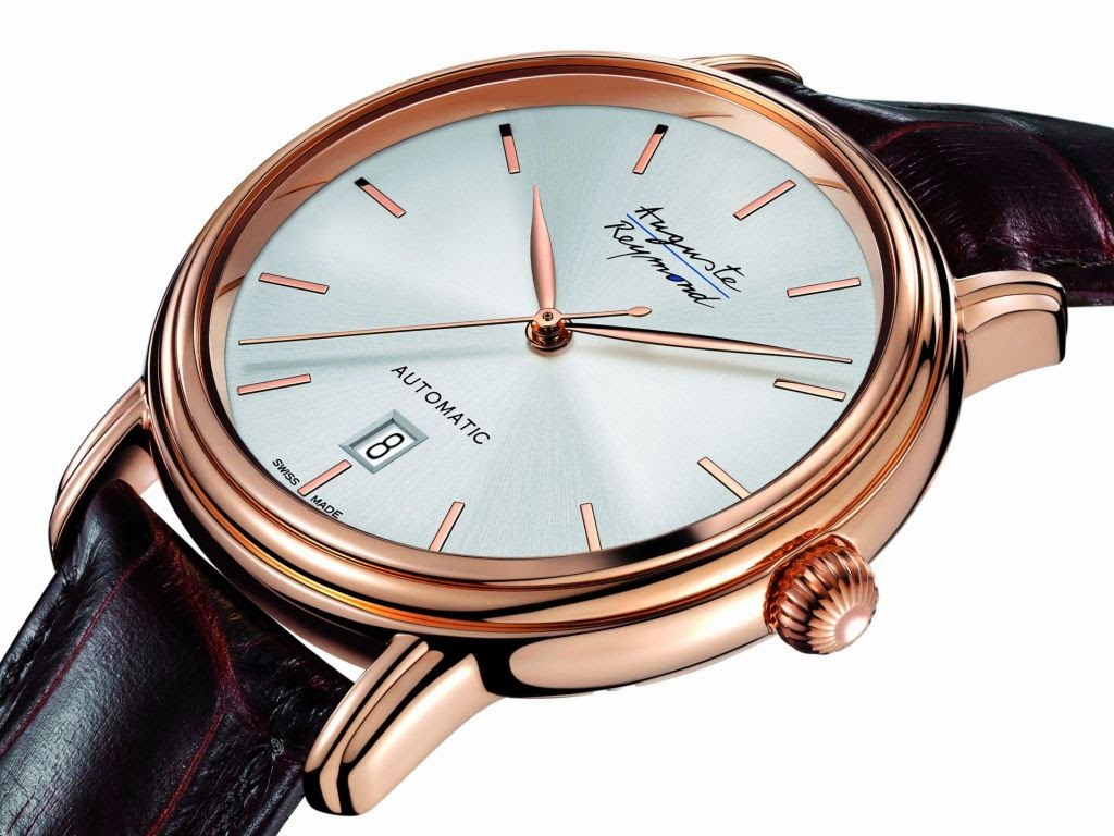 Auguste Reymond Elégance Automatic watch with Pink PVD-treated polished 316L steel case