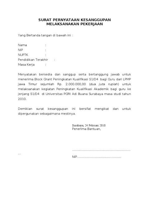 Macam Macam Contoh Surat Pernyataan Kerja Terbaru