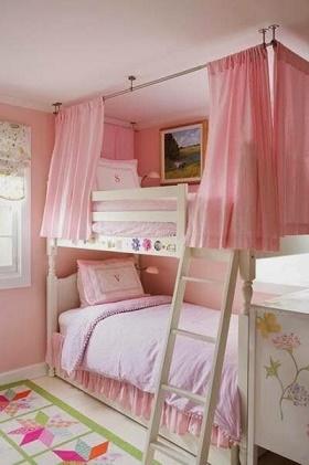 Cuartos rosa para dos niñas - Ideas para decorar dormitorios