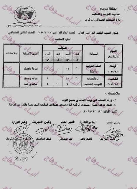 جداول ومواعيد إمتحانات الترم الاول بمحافظة سوهاج