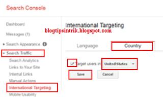 menentukan negara target pengunjung blog pada webmaster tool