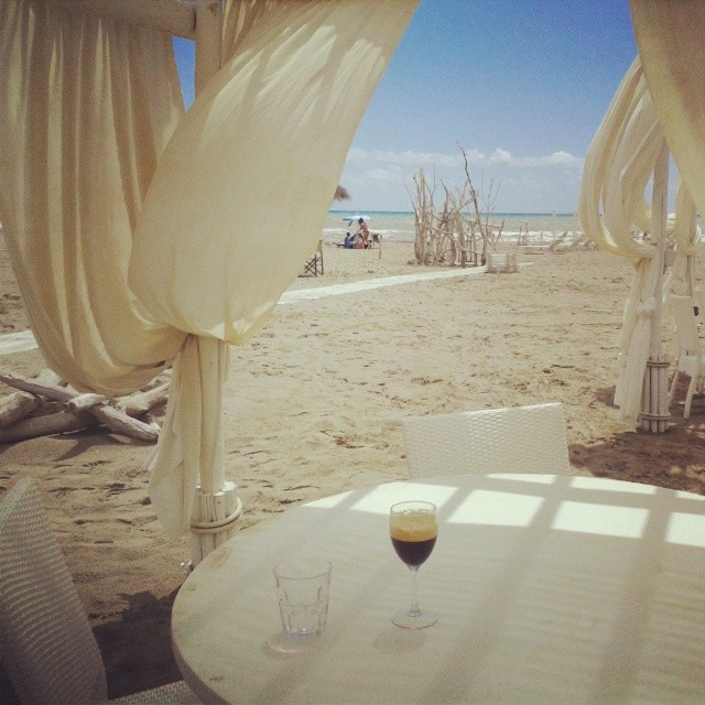 Iced coffee at Fiumara Beach club near Grosseto