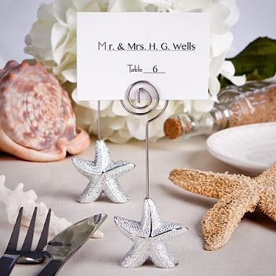 Summer Wedding Escort Card Ideas Shimmering Starfish Holders