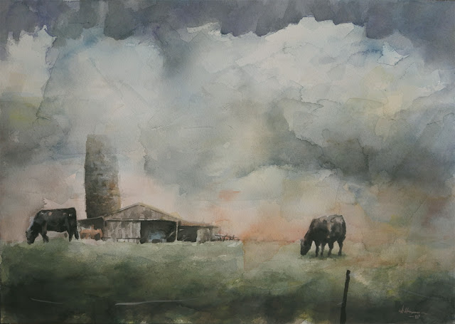Watercolour painting of barn, skies and clouds in Indiana