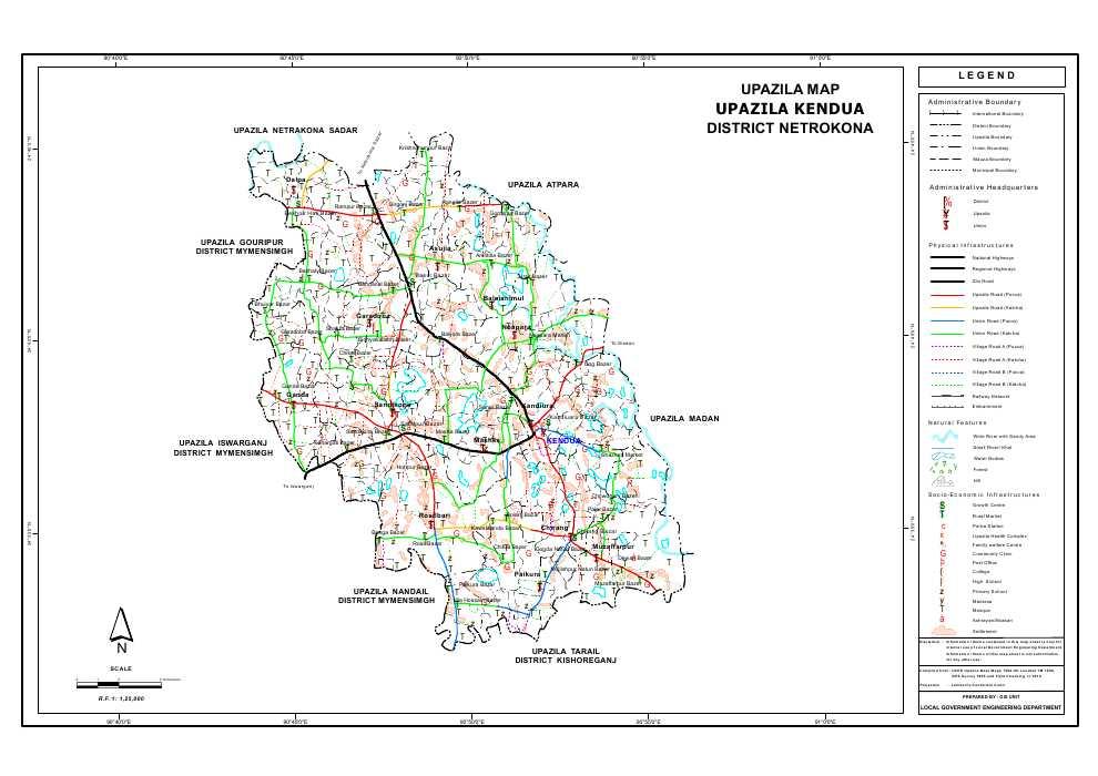 Kendua Upazila Map Netrokona District Bangladesh