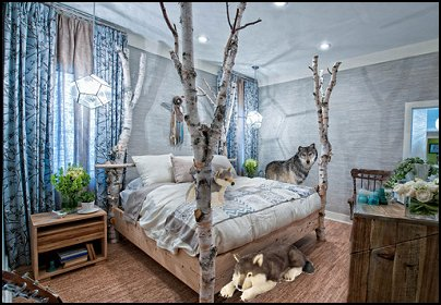 birch tree branches bed  wolf theme bedrooms - Santa Fe style - wolf bedding - Tipis, Tepees, Teepees - Decal sticker wolf - wolf wall mural decals - birch tree branches - cactus decor