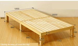 giường gấp đa năng gỗ xoan đào