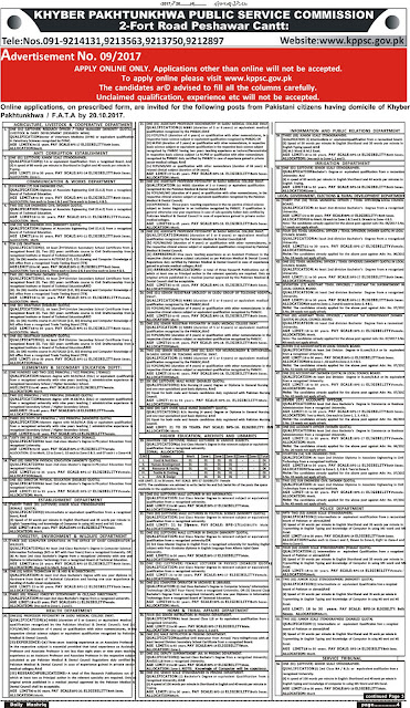 Khyber Pakhtunkhwa Public Service Commission Jobs 2017