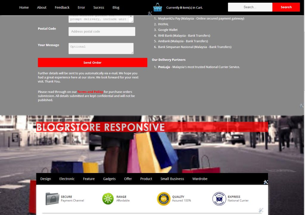 BlogrStore Responsive Template Tutorial Installation Official - Responsive shopping cart template