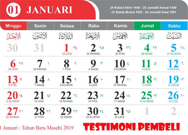 Testimoni pembelian Template Kalender terpercaya di mastimon.com