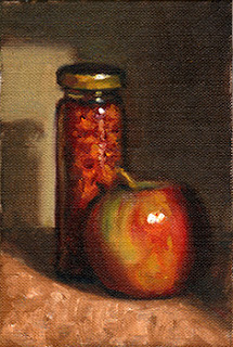 Oil painting of a slender jar of chilli flakes beside a red and green apple.
