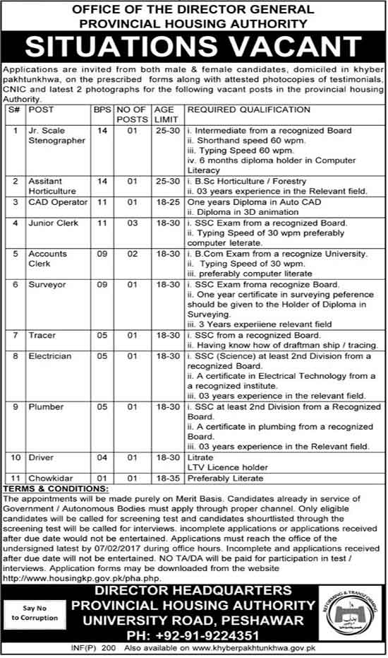 Jobs in KPK Provincial Housing Authority Peshawar