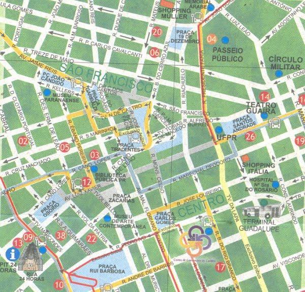 Mapa do centro de Curitiba