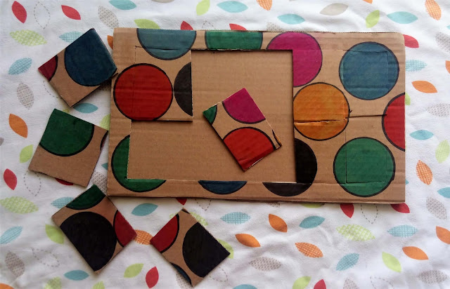 zabawki diy dla dzieci układanka z kartonu