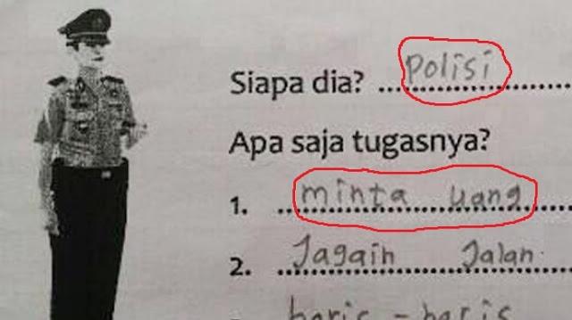 Heboh.!! Jawaban Anak SD Ini Tentang Apa Tugas Polisi, Kembali Menghebohkan Dunia Maya.BAGIKANYA