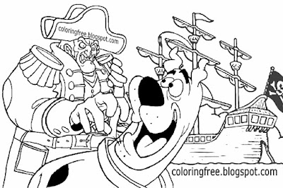 Clipart ghostly buccaneer ship sea monster pirate captain coloring pages Scooby Doo cartoon drawing