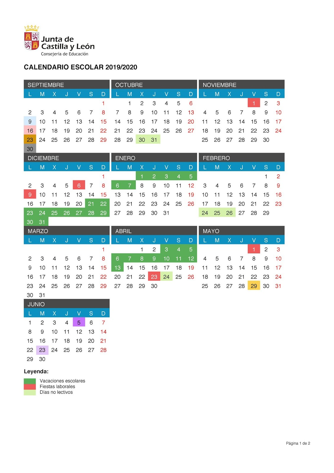 Calendario 2019 Escolar 2020 Madrid.Calendario Escolar 2019 2020 Castilla Y Leon