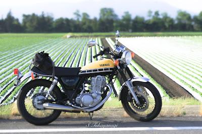 日本の風景 赤城山 畑 高原野菜 バイク ツーリング SR400