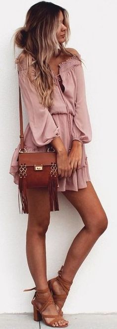 gypsy style obsession: pastel dress + bag + sandals