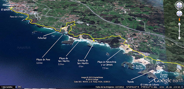 Mapa 1 Senda Costera Llanes a Villahormes