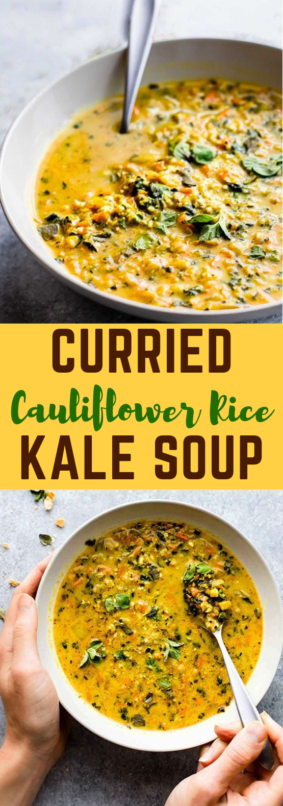 curried cauliflower rice kale soup {paleo, vegan friendly} #Vegetarian #Veggies