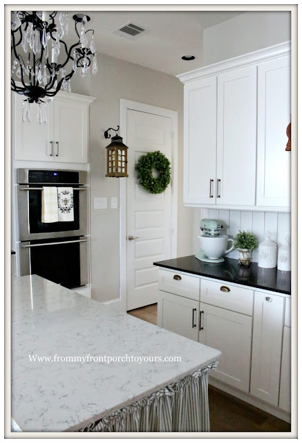French Country Farmhouse Kitchen-Hanging Lantern-Boxwood Wreath-kitchenaid pistachio mixer -From My Front Porch To Yours