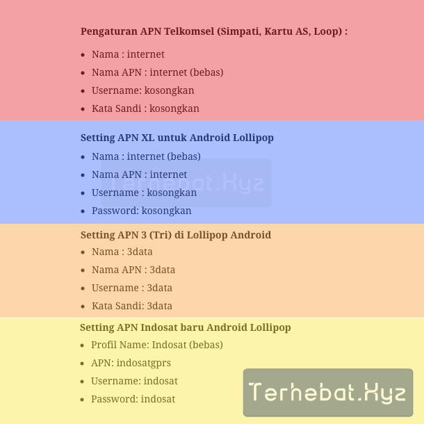 pengaturan apn di Android