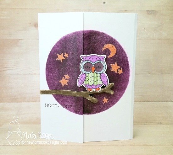 Owl card by Naki Rager | What a Hoot Stamp Set & Die Set by Newton's Nook Designs #newtonsnook