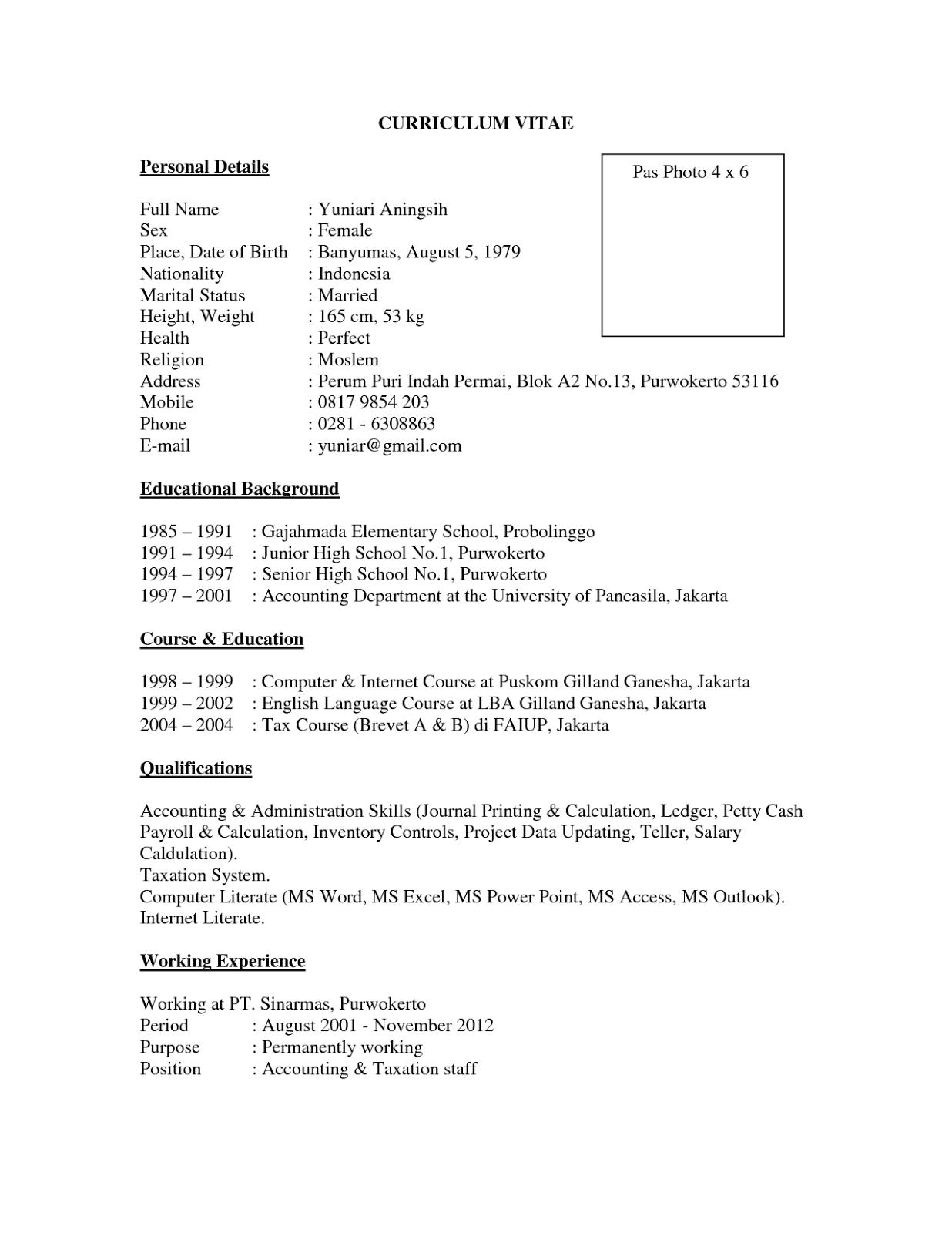 Contoh Curriculum Vitae Bahasa Inggris Dan Artinya Contoh Surat
