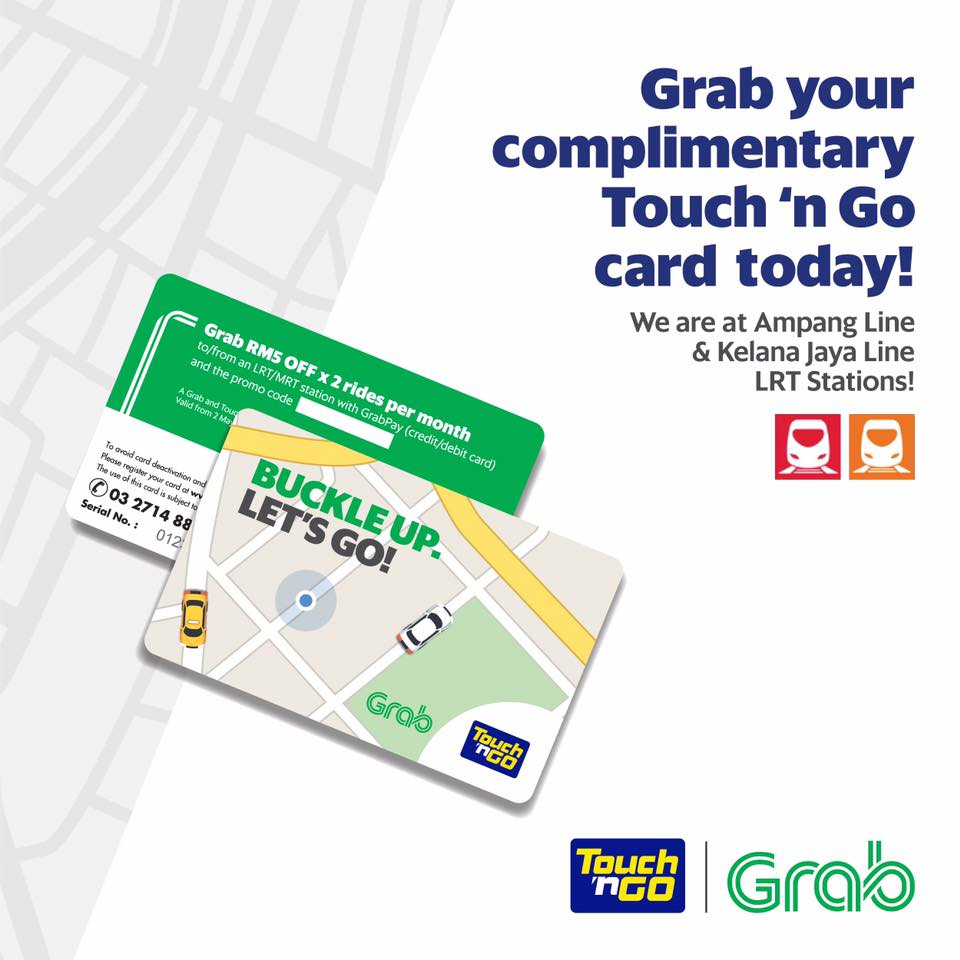 grab free touch n go card promo code rm5 discount x 2 rides month selected lrt mrt stations until 31 may 2017